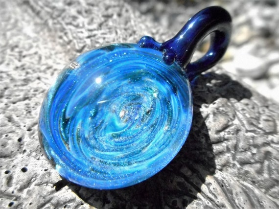 blue on blue wig wag heady glass pendant sparkling blue and deep gold - Heady Glass Pendants