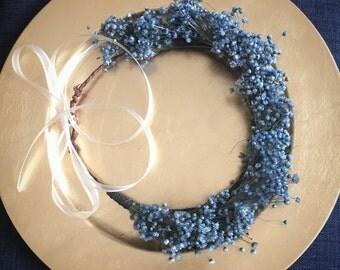 Baby's Breath Flower Crown, Blue Flower Crown, Bridal Flower Crown, Floral Festival Crown, Flower Girl Flower Crown, Wedding Flower Crown