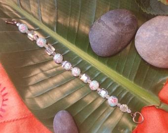 Floral bead and Crystal Bracelet