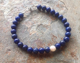 Natural Lapis and Freshwater Pearl Bracelet