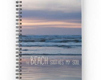 Beach Accessory ~ Spiral Notebook ~ Soul Writing Journal ~  Ocean Notebook ~ Sunset Photo Journal ~ Gift for Her ~ Woman's Diary ~ Pink Blue