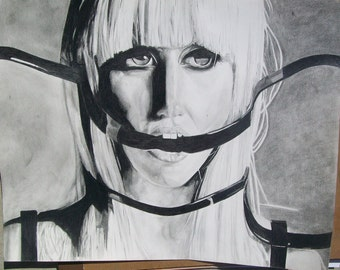 Gaga drawing on paper with Graphite pencil