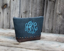 Handwoven Monogram Pouch for cosmetics zipper with embroidery ABC letters. Makeup bag metal rivets. Monogram case for small items. Gift idea