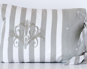 Grey and White Striped Cushion, Striped Pillow Cushion, Grey Cushion, Rectangular Cushion, Home Decor, 17x13 inch Cushion