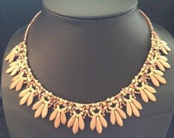 Weaving of Czech glass beads, gold tone Choker necklace