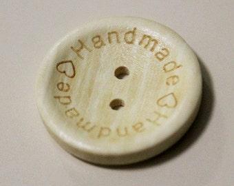 Wooden Buttons-Handmade light wood buttons-Handmade with love buttons-craft buttons-Set of 50 buttons