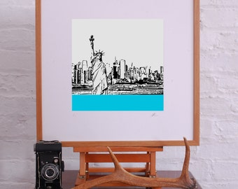 New York Limited Edition Giclee from Linocut Style Print 12x12 inches