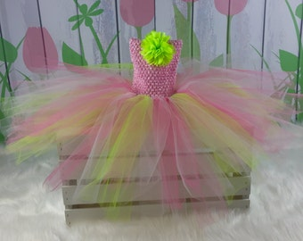 Pink and Green Halter Tutu Dress