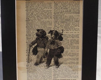 Vintage Actual Dictionary Page Hobo Dogs 1950's includes 11x14 mat wall decor FREE shipping