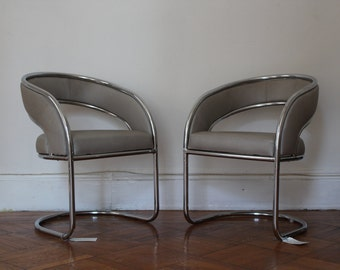 2 Chrome and Gray Leather Accent Chairs