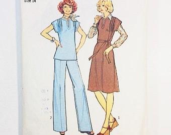 70s Jumper Dress   Simplicity 7601 Misses Jumper Dress & Pants Pattern   70s Sewing Pattern