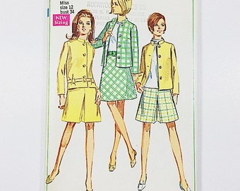 60s Casual Suit Pattern   Simplicity 7545 Jacket & Skirt Pattern   60s Sewing Pattern