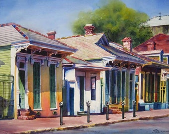 """New Orleans Cottages, New Orleans French Quarter 8x10"""" fine art giclee print of original watercolor painting"""