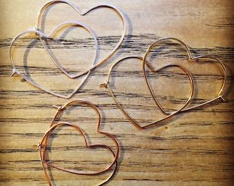 Minimalist Heart Hoop Earrings