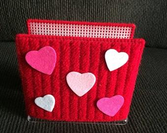 Plastic Canvas Napkin Holder-Handmade-Valentines Day-Hearts
