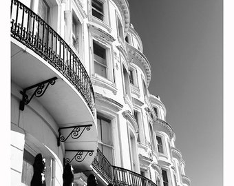 A3 Print of Brighton White Victorian Seafront Architecture black and white