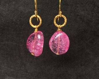 Pink Quartz Earrings, Pink Earrings, Quartz Earrings, Statement  Earrings, Gold Earrings, Boho Earrings, Womens Earrings, Drop Earrings