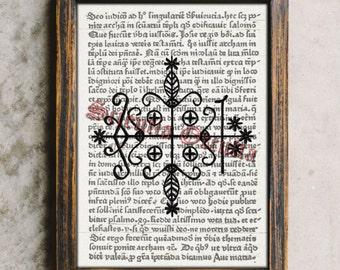 Voodoo art, Papa Legba veve print, magick sigil art, vodou symbol, Louisiana Voodoo, spirit evocation symbol, sorcery, magic spells #26
