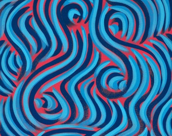 """Swirls - 12""""x12"""", Abstract Acrylic Painting on Stretched Canvas, Pattern, Blue, Pink"""