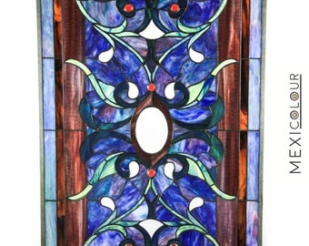 40 X 21 Tiffany Style Beveled & Stained Glass Window Hanging - 'La Casa Azul'
