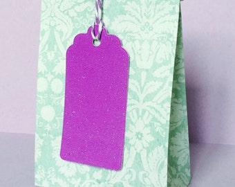 x12 Purple Glitter Tags