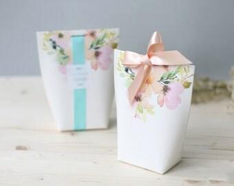 3 floral gift boxes, wedding favor boxes, bridal shower favor boxes, gift boxes,floral paper boxes, unique boxes,cute boxes