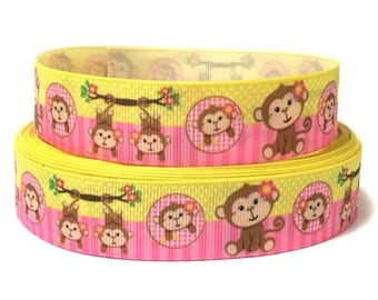 "1"" Monkey Grosgrain Ribbon, Monkey girl ribbon, Animals Ribbon, Ribbon by the Yard, Craft Supply, DIY Hair Bow, hairbows"