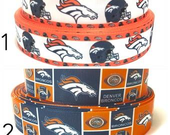 "1"" Denver Broncos Ribbon, NFL Denver Broncos Grosgrain Ribbon by the Yard, Broncos Football Ribbon"