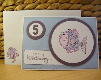 Five Year Old Birthday Card Fish