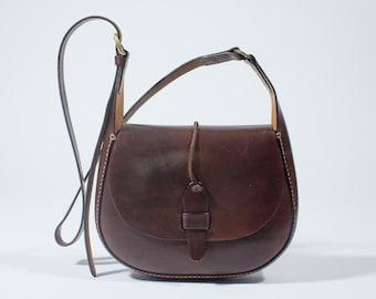 70s brown leather vintage hippie shoulder bag