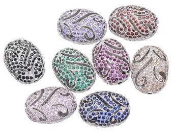 Bulk 5 Micro Pave Oval Bead 16mm x 12mm / CZ Leaf Bead / Cubic Zirconia Oval Bead / European Bead
