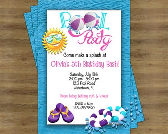 Girls Pool Party Invitation Girl; Pool Party Invite; Swimming Party Invitations; Swimming Birthday Invitation; Summer Party Invitation