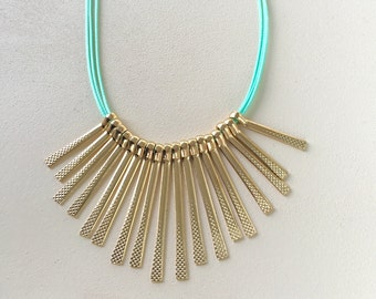 Mint Cord/ Gold Brass Bars/ Fringe/ Necklace