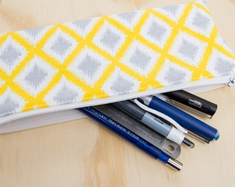 Yellow Diamond Pencil Case / Zippered Pouch / Accessory Pouch / Glasses Case
