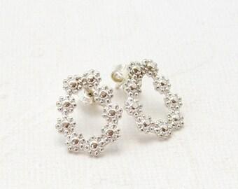 Earrings, 925 Silver earrings, flowers, floral, pot