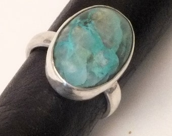 Chrysocolla Sterling Silver Ring Size 6.5