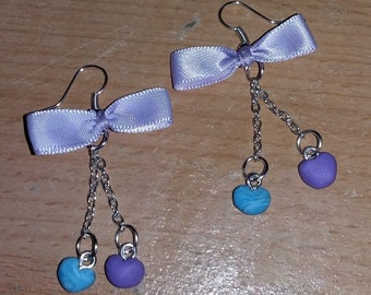 Earrings with hearts more purple node