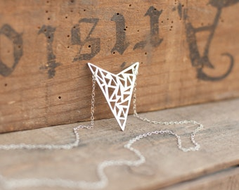 Hand Sawn Triangle Arrowhead Necklace, Sterling Silver