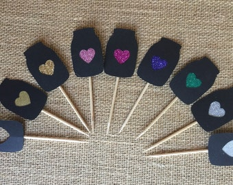 Mason jar with heart cutout cupcake topper picks, black, any color heart 6ct