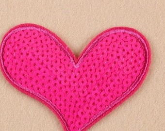 Pink Heart Sequin iron on patch applique