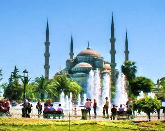 Blue Mosque, Istanbul, Turkey, Turkish Mosque, Sultanahmet Park, Fountains, Istanbul Print, Famous Mosque, Architecture, Available on Canvas