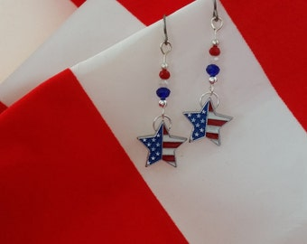 Patriotic Earrings FREE SHIPPING American Flag Earrings Leverback Clip On Red White and Blue Earrings Patriotic Jewelry 4th of July Earrings