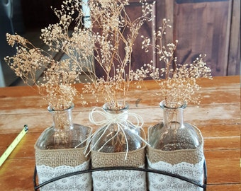 Burlap and Lace Glass Vases