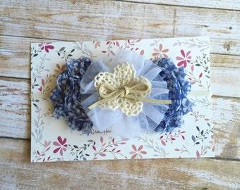 Shabby Chic Country Girl Headband/Toddler Headband/Baby Headband/Infant Headband/Baby Girl Headband/Newborn Headband/Child Headband