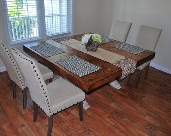 Farmhouse table, rustic table, kitchen table, square table, distress white table
