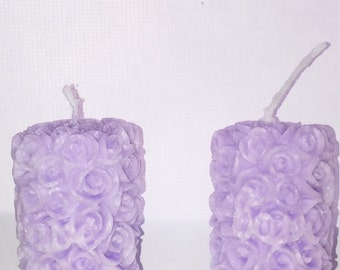 Rose candle set of 2