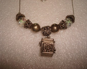 Silver Beaded Pandoras Box Chain Necklace