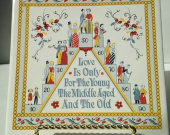 Vintage Berggren Swedish Trivet/Tile - Love Saying