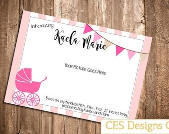 Baby Girl Birth Annoucement Card