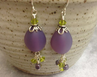 Lilac and Lime Green Dangle Earrings